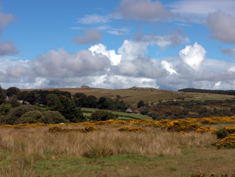View of Kestor Rock and Thornworthy Tor from Metherall, Dartmoor.  Kings Oven Metherall Hurston Lettaford West Coombe Hookney Tor 2010-09-08
