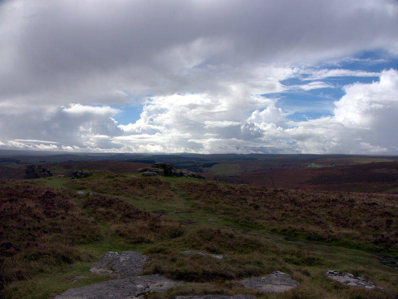 Panorama from the top of Hookney Tor, Dartmoor.  Kings Oven Metherall Hurston Lettaford West Coombe Hookney Tor 2010-09-08