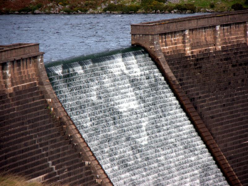 Spillway Avon Dam.  Cross Furrzes Lud gate Skerraton Gate Shipley Tor Black Tor Avon Dam Abbots Way 2010-09-15