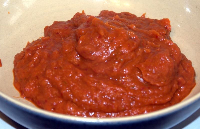 Blended peppers ready for use.  Place the peppers and ginger etc in the blender and blend into a paste