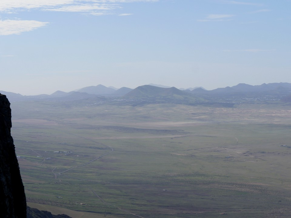 The distant volcanic landscape