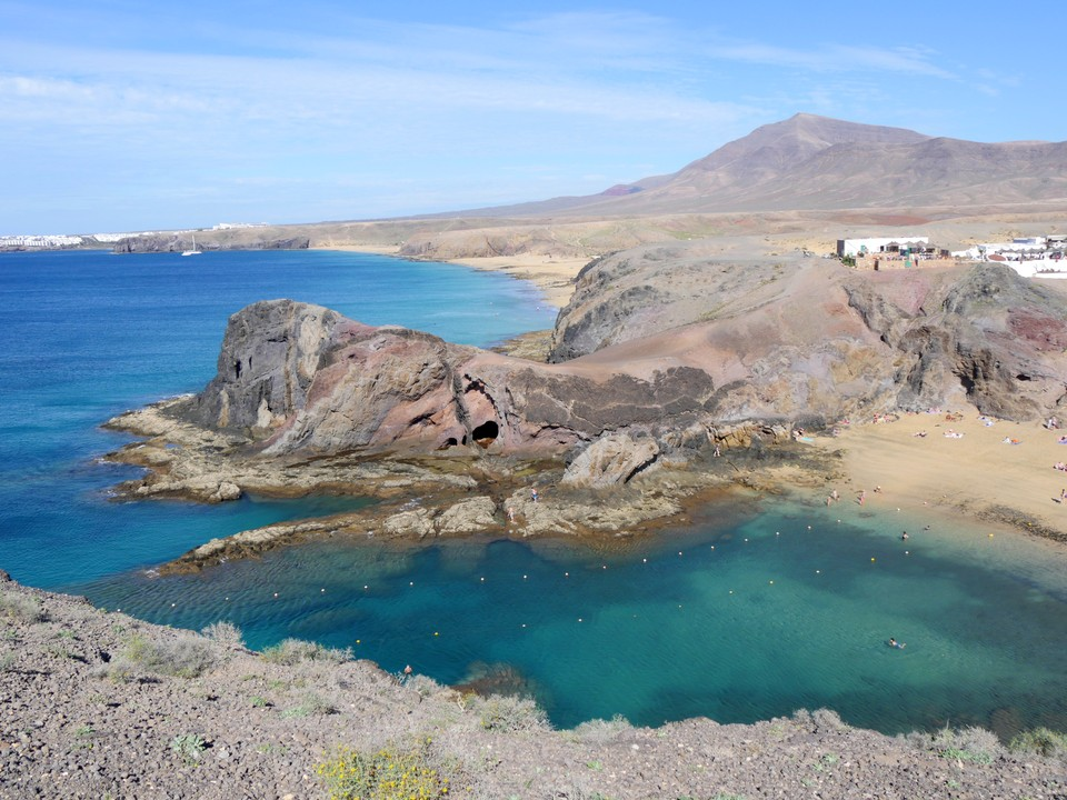 Playa de Papagayo is a popular destination -  tourists arrive by sea taxi from Playa Blanca