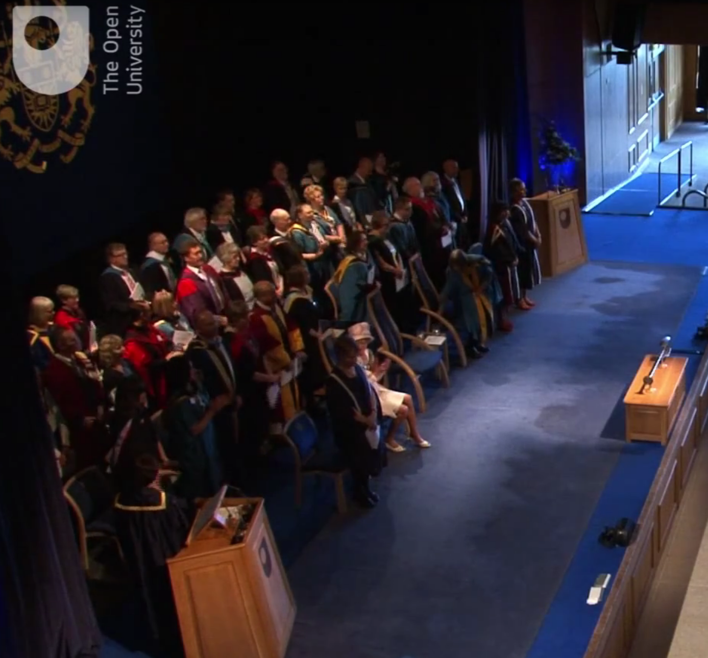 On stage at the degree ceremony torquay